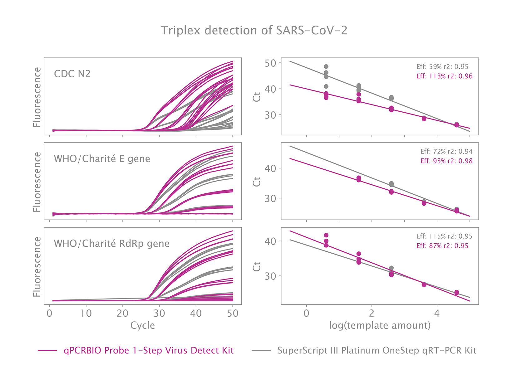 Triplex detection of SARS-CoV-2 using N2 (CDC), E (Charite) and RdRp (Charite) primer probe sequences using qPCRBIO Probe 1-Step Virus Detect